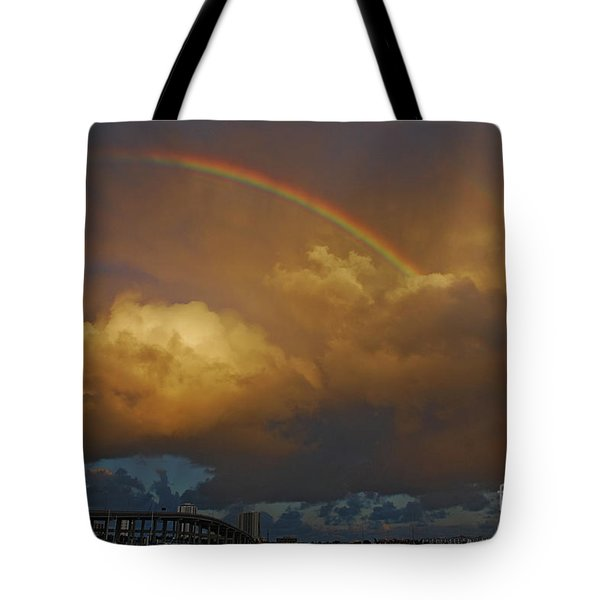 Tote Bag featuring the photograph 2- Singer Island Stormbow by Rainbows