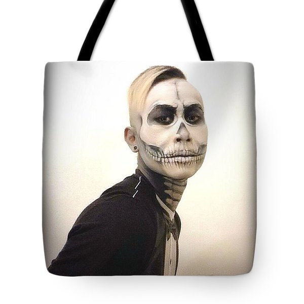 Skull And Tux Tote Bag by Kent Chua