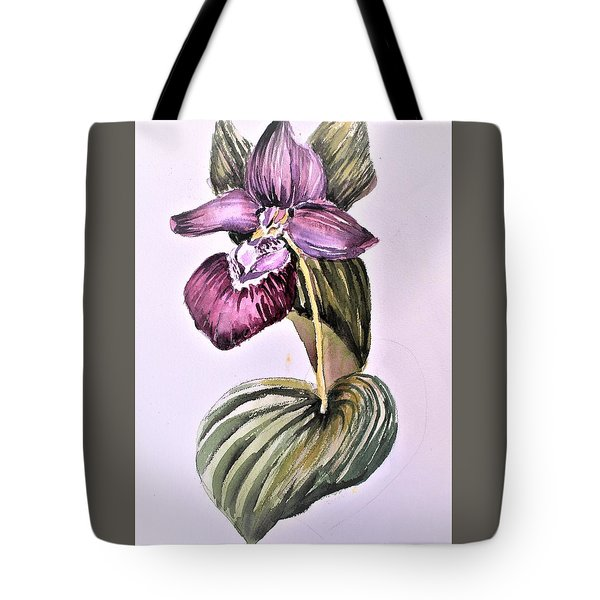 Tote Bag featuring the painting Slipper Foot Orchid by Mindy Newman