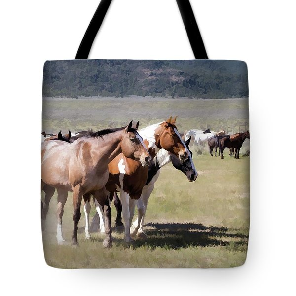 Tote Bag featuring the digital art Sombrero Ranch Horse Drive, An Annual Event In Maybell, Colorado by Nadja Rider