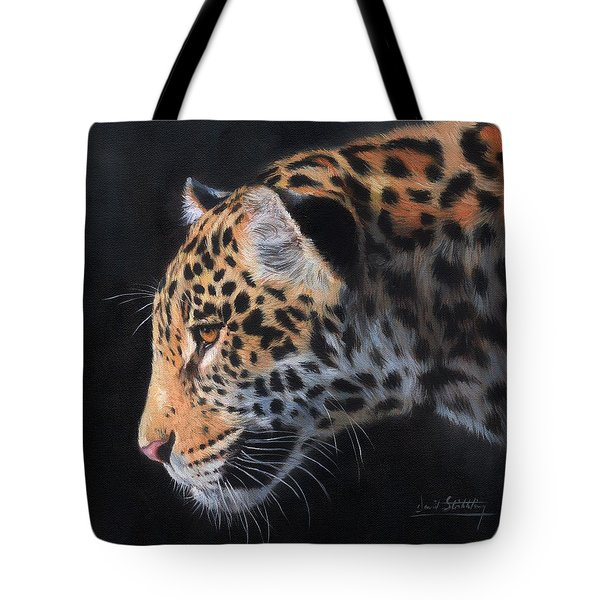 Tote Bag featuring the painting South American Jaguar by David Stribbling