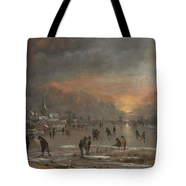Sports On A Frozen River Tote Bag