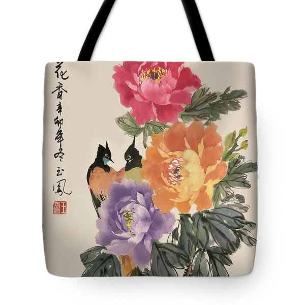 Tote Bag featuring the painting Spring Melody by Yufeng Wang