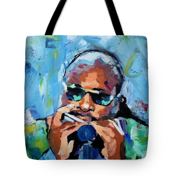 Tote Bag featuring the painting Stevie Wonder by Richard Day