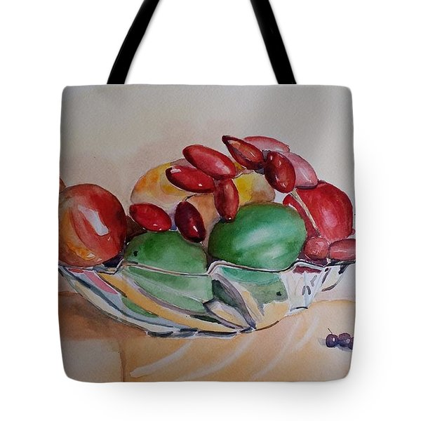 Tote Bag featuring the painting Still Life Fruits by Geeta Biswas