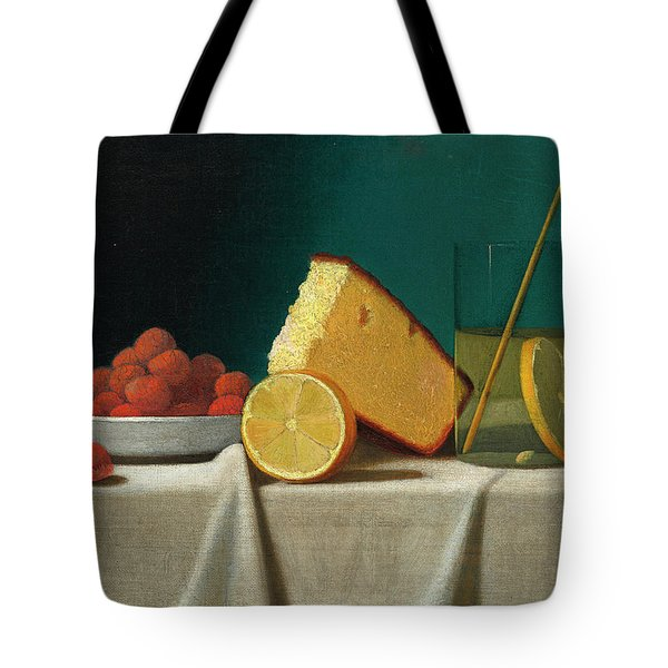 Still Life With Cake, Lemon, Strawberries, And Glass Tote Bag