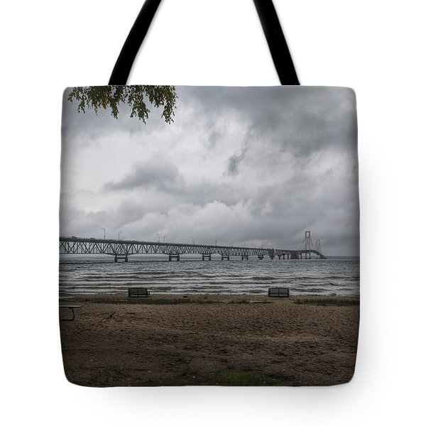 Tote Bag featuring the photograph Straits Of Mackinac by John M Bailey