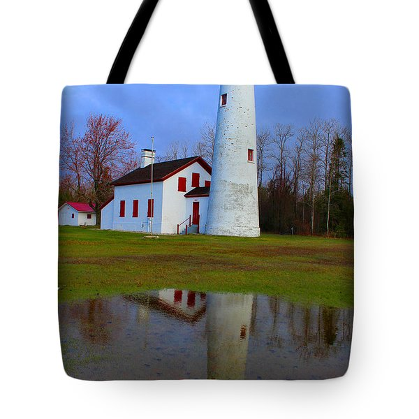 Sturgeon Point Lighthouse Tote Bag by Michael Rucker