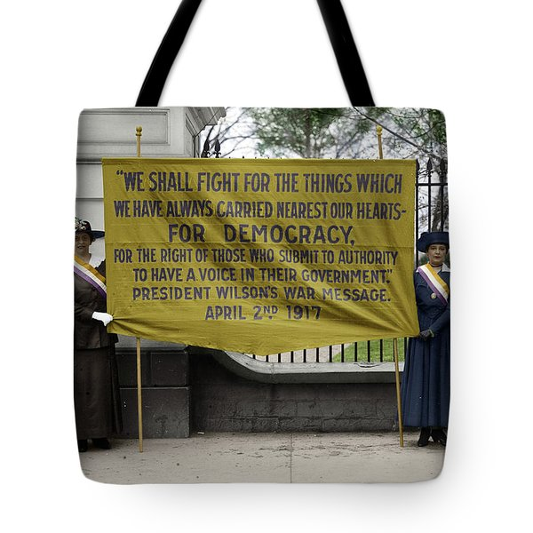 Tote Bag featuring the photograph Suffragettes, 1917 by Granger