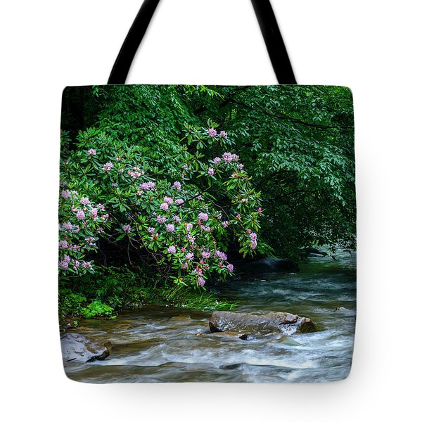 Summer Along Birch River Tote Bag