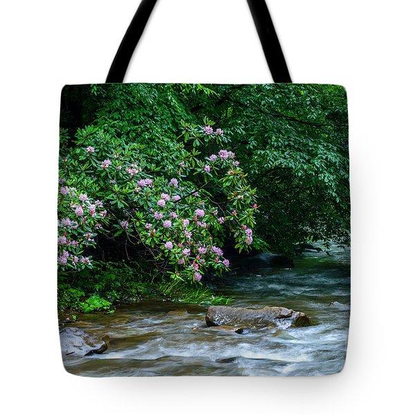 Summer Along Birch River Tote Bag