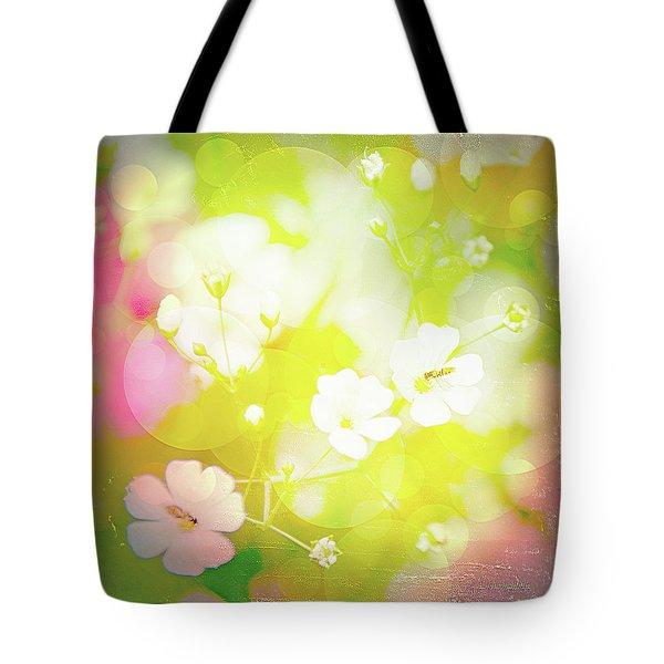 Summer Flowers, Baby's Breath, Digital Art Tote Bag