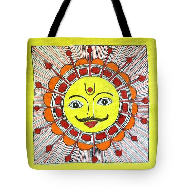 Sun Madhubani Tote Bag