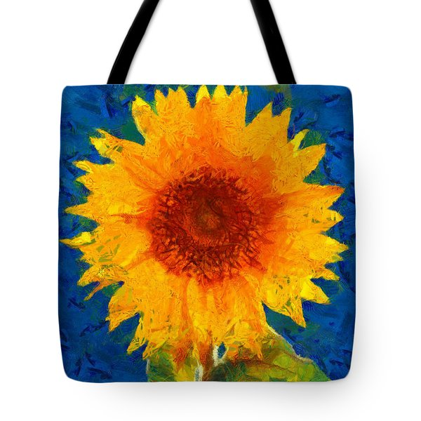 Tote Bag featuring the painting Sunflower by Elizabeth Coats