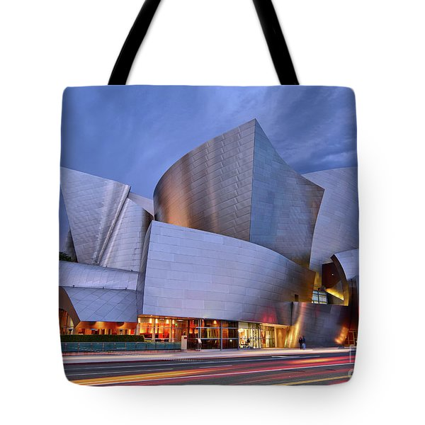 Sunset At The Walt Disney Concert Hall In Downtown Los Angeles. Tote Bag