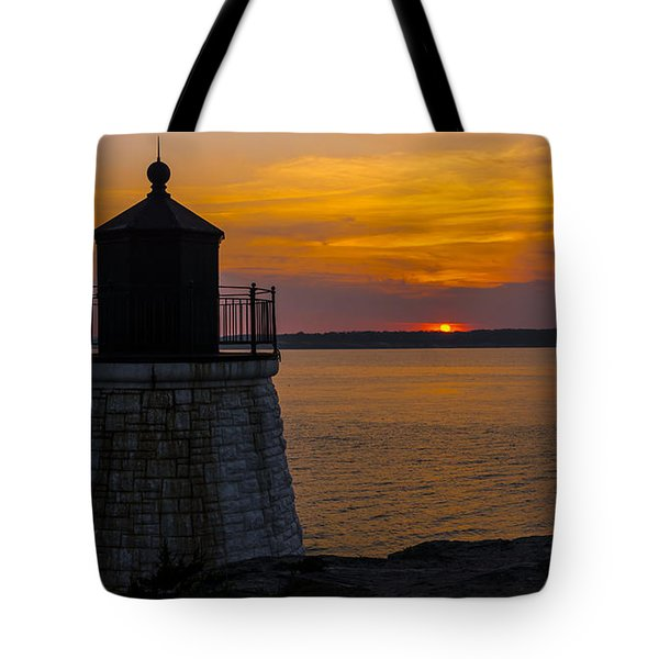 Sunset From Castle Hill Lighthouse. Tote Bag