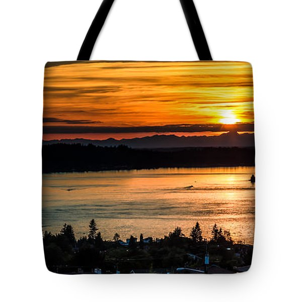 Sunset Over Hail Passage On The Puget Sound Tote Bag