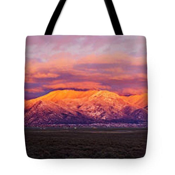 Sunset Over Mountain Range, Sangre De Tote Bag