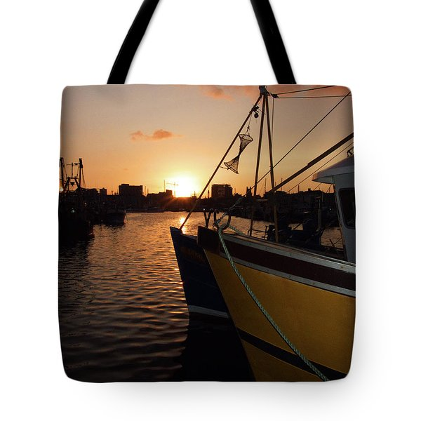 Sunset Over Sutton Harbour Plymouth Tote Bag by Chris Day
