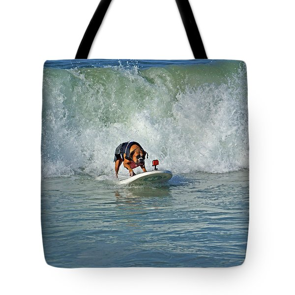 Surfing Dog Tote Bag