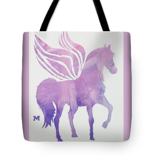 Tote Bag featuring the painting The Pink Pegasus by Candace Shrope