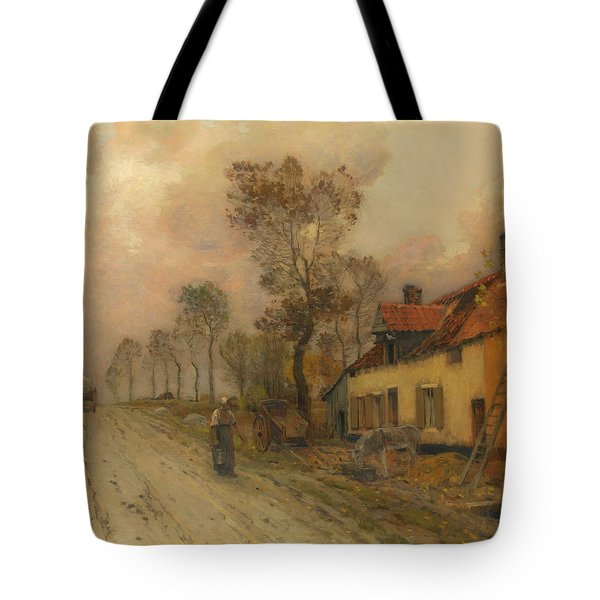 Tote Bag featuring the painting The Route Nationale At Samer by Jean-Charles Cazin