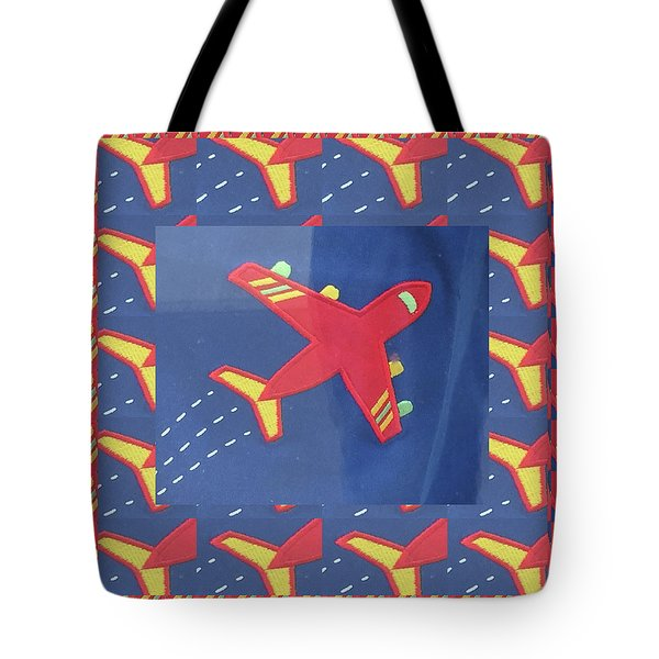 Tote Bag featuring the digital art Theme Aviation Aeroplanes Aircraft Travel Holidays Christmas Birthday Festival Gifts Tshirts Pillows by Navin Joshi