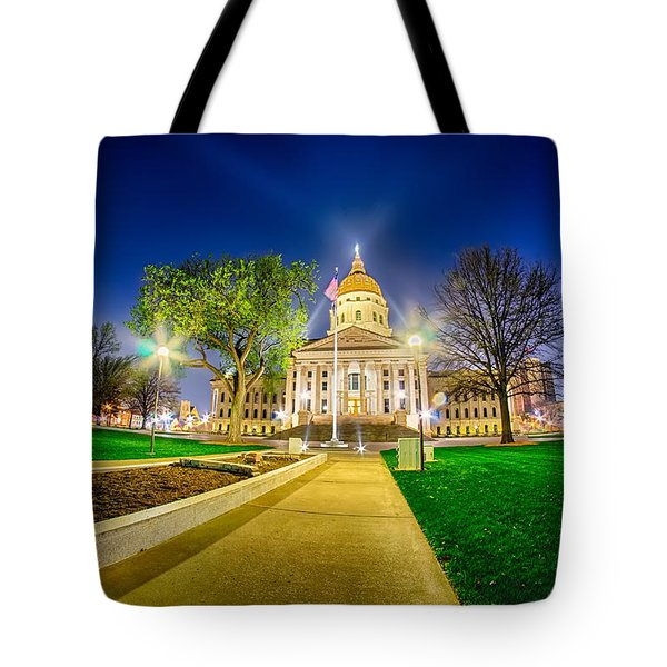 Topeka Kansas Downtown At Night Tote Bag