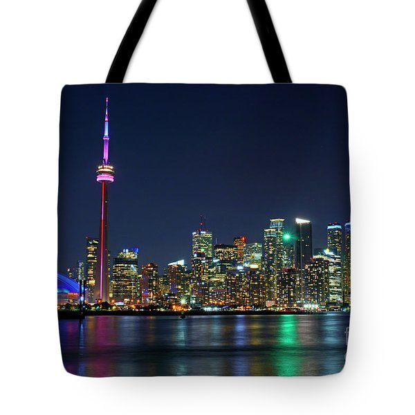 Toronto Night Skyline Tote Bag by Charline Xia