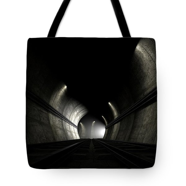 Train Tracks And Approaching Train Tote Bag