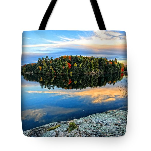 Tranquil Northern Lake Tote Bag by Charline Xia