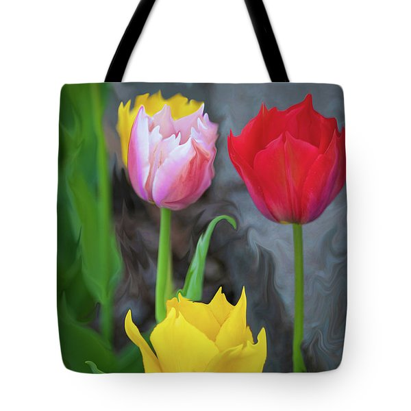 Tote Bag featuring the digital art Tulips by Cristina Stefan