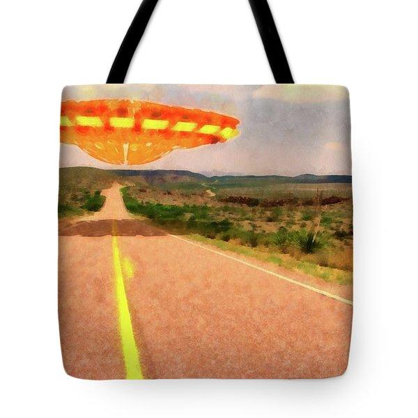 Ufo Over Highway Tote Bag