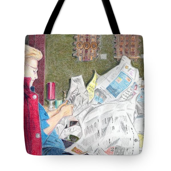 Tote Bag featuring the drawing Unwrap by Yoshiko Mishina