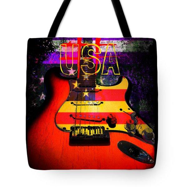 Red Usa Flag Guitar  Tote Bag
