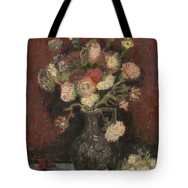 Vase With Autumn Asters Tote Bag