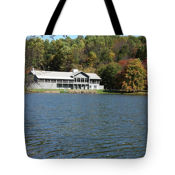 View Of Peaks Of Otter Lodge And Abbott Lake  In Autumn Tote Bag