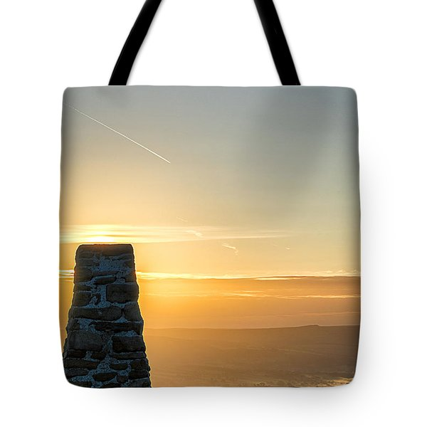 View Over The Hope Valley From Mam Tor At Dawn Tote Bag