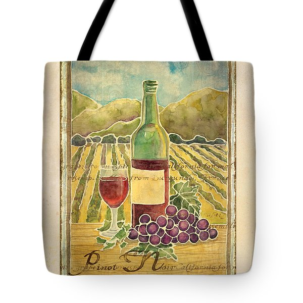 Vineyard Pinot Noir Grapes N Wine - Batik Style Tote Bag by Audrey Jeanne Roberts