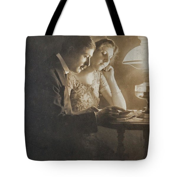 Vintage Loving Couple Reading With Oil Lamp Tote Bag