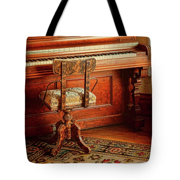 Tote Bag featuring the photograph Vintage Piano by Jill Battaglia