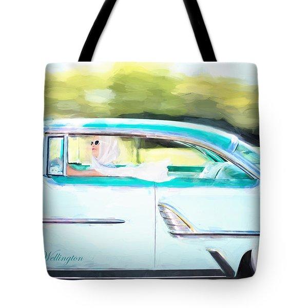 Vintage Val In The Turquoise Vintage Car Tote Bag