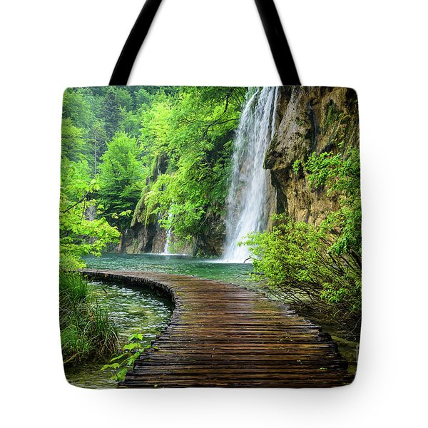 Walking Through Waterfalls - Plitvice Lakes National Park, Croatia Tote Bag