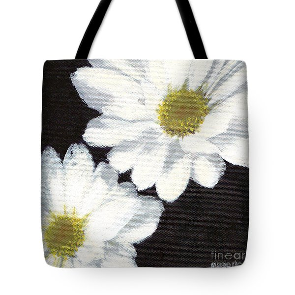 White Daisies Tote Bag by Marsha Young