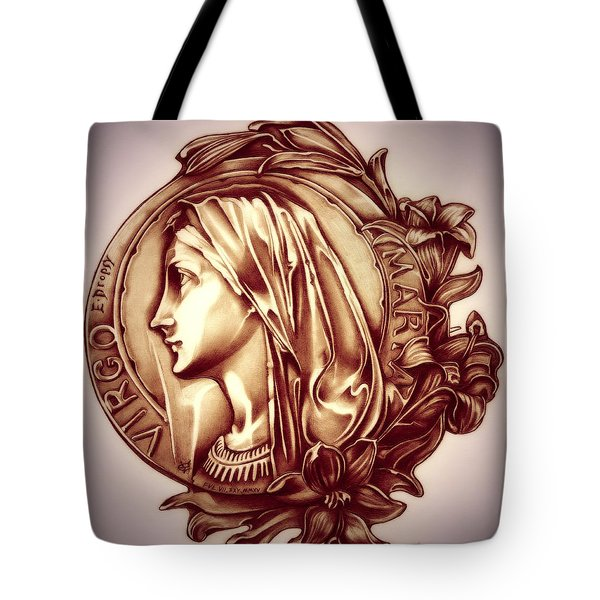 White Lilly Of The Virgin Mary Tote Bag by Fred Larucci