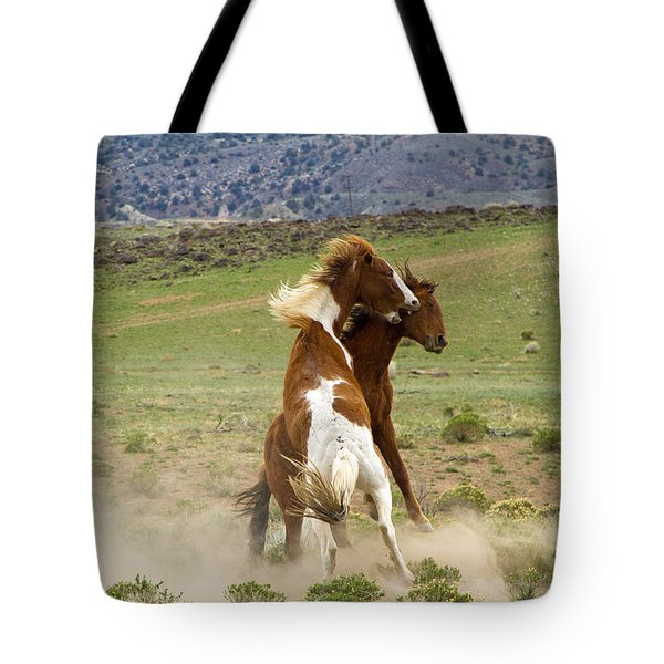 Wild Mustang Stallions Fighting Tote Bag