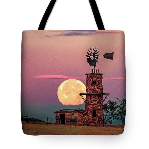 Windmill At Moonset Tote Bag