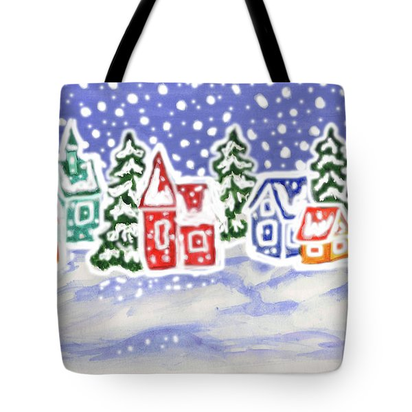 Winter Landscape With Multicolor Houses, Painting Tote Bag