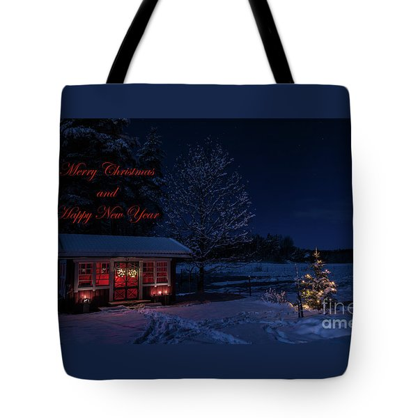 Tote Bag featuring the photograph Winter Night Greetings In English by Torbjorn Swenelius