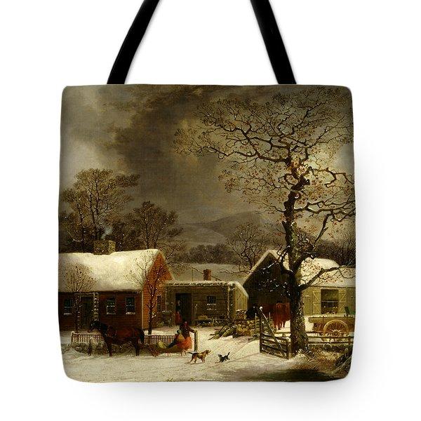 Winter Scene In New Haven, Connecticut Tote Bag